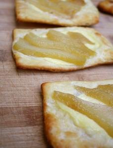 Caramel/wine poached pear danish